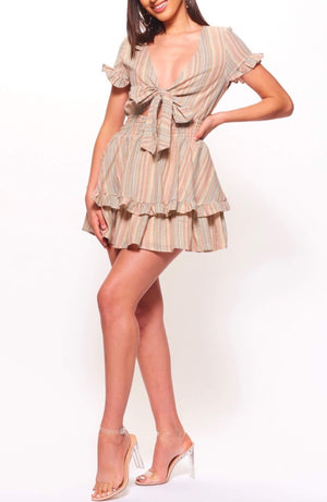 Multi-striped ruffled mini dress with tie front - orange multi