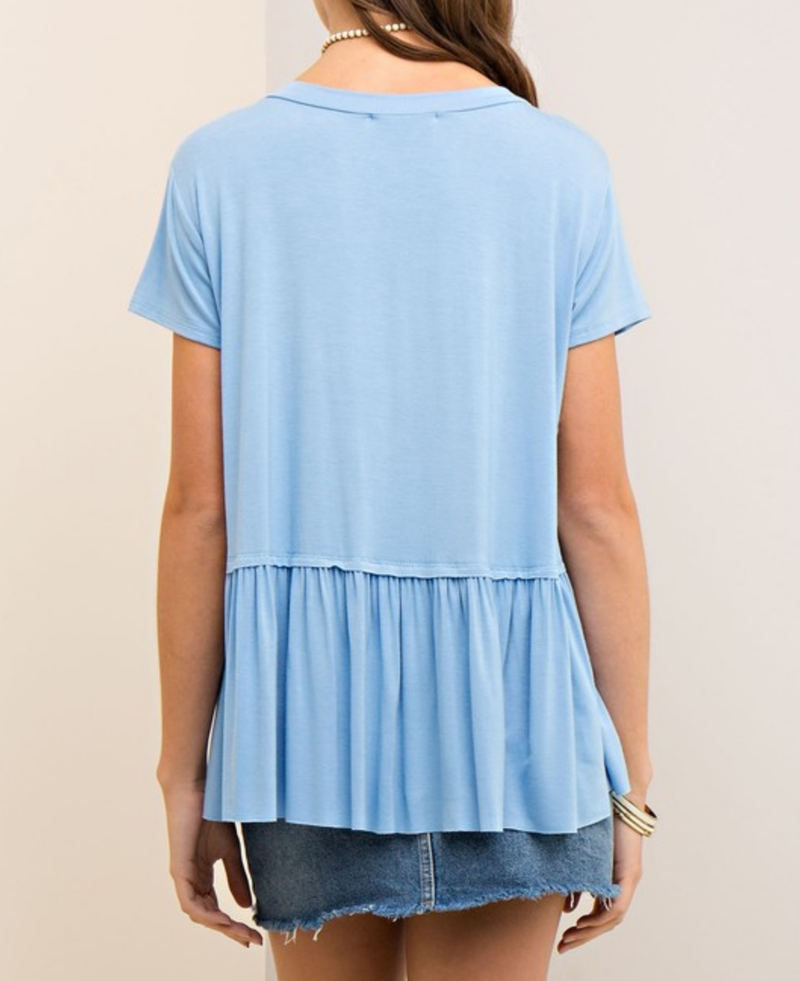 On The Road Peplum Tee in Light Denim