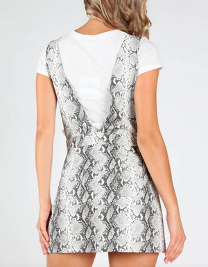 Final Sale - Honey Punch - Deep V Neck Snake Print Pinafore in Grey/Snake Print PU