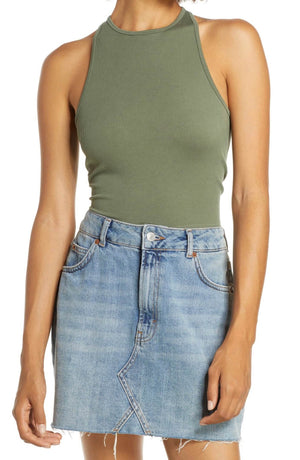 Free People Hayley Brami Crop Tank Top in Army Green