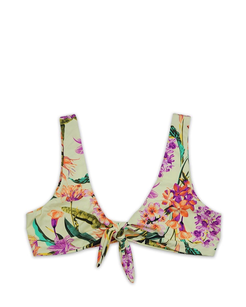 Kylie Front Tie Knot Seamless Bikini Top - Birds of Paradise