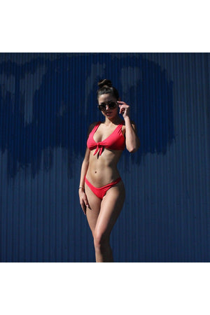 kylie front tie knot - seamless bikini top - cherry red