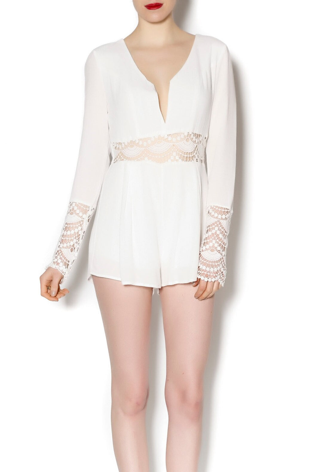 FINAL SALE - Honey Punch - Sheer Crochet Long Sleeve Romper in Ivory