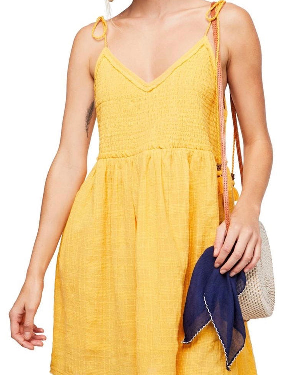 Endless Summer by Free People - Sun Drenched Minidress in Yellow