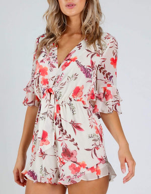 Honey Punch - Romantic Floral 3/4 Sleeve Romper with Ruffle Hem - Ivory Print