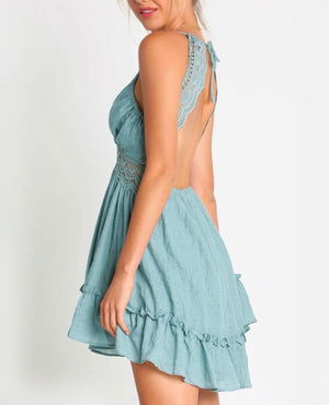 lace crochet halter open back v-neck dress in sage