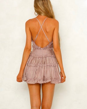 attention grabber ruffled trim mini dress - mocha