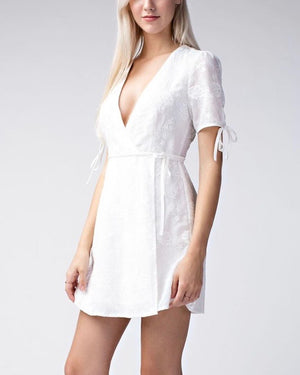 Wild Honey - Short Sleeve Embroidered Wrap Dress - White