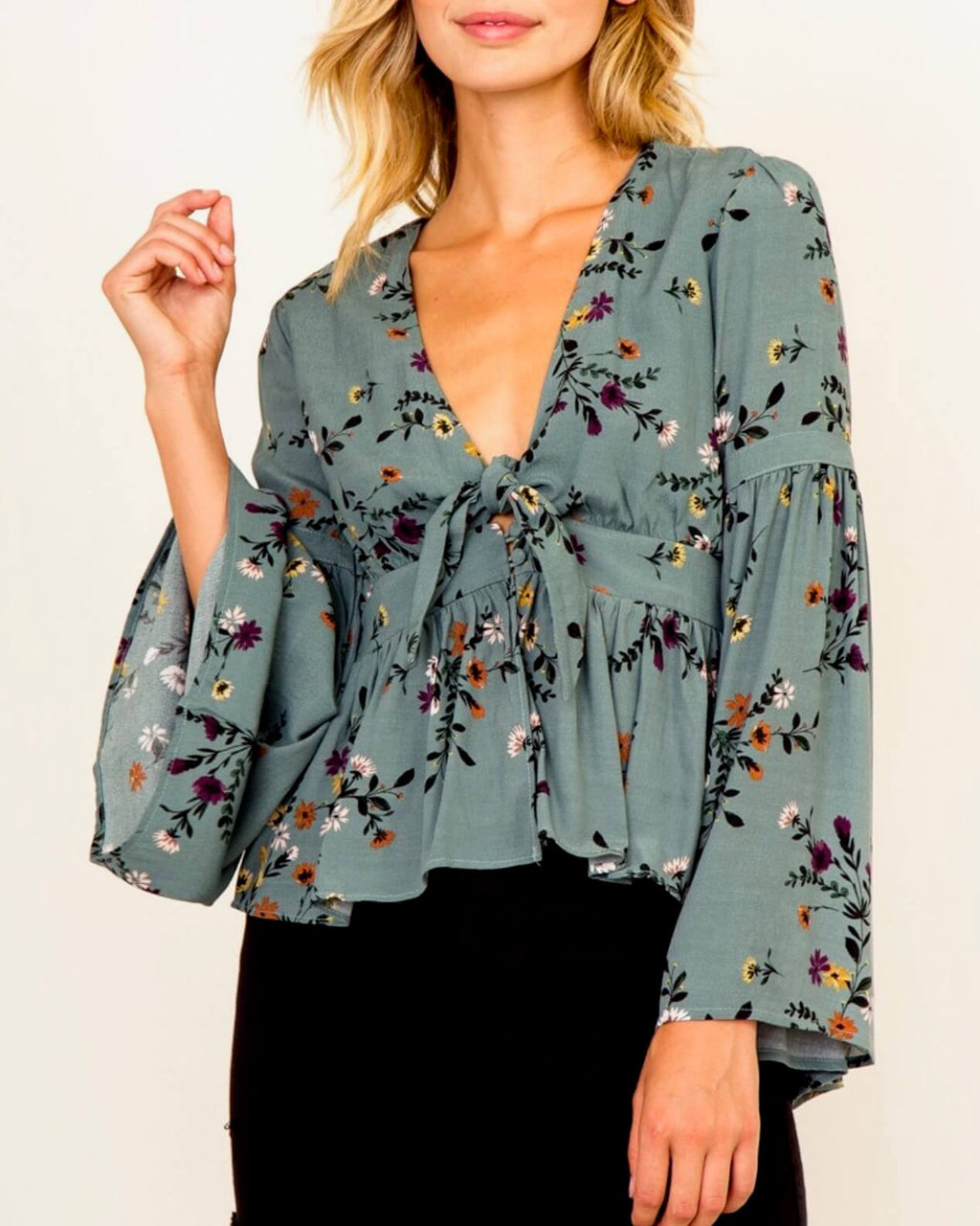 Olivaceous - Floral Bell Sleeve Blouse in Teal