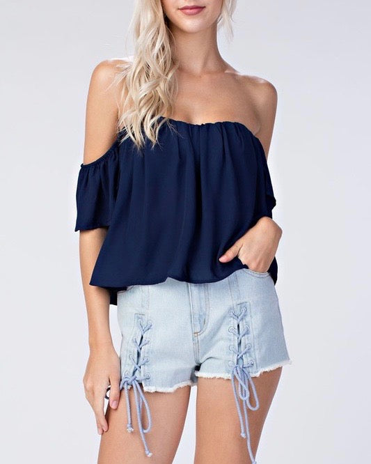honey punch - casual chic off the shoulder short sleeve top - navy