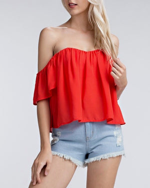honey punch - casual chic off the shoulder short sleeve top - cherry red