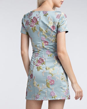 Final Sale - Honey Punch - Jacquard Short Sleeve Mini Dress in Vintage Blue