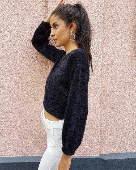 Fuzzy Cropped Sweater in More Colors