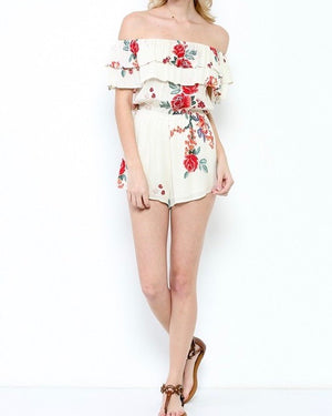 Final Sale - Slow Down - Off The Shoulder Woven Floral Ruffled Romper - Beige