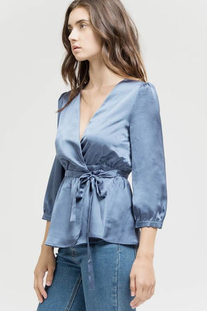 Satin Dream Top in French Blue