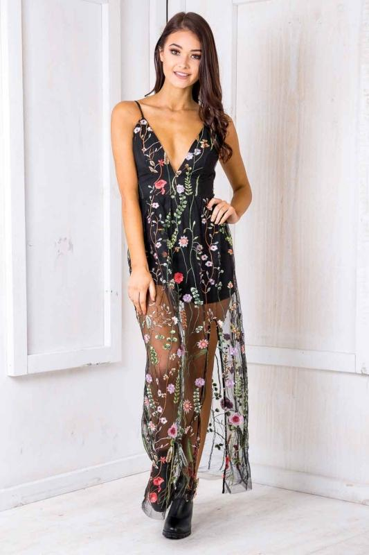 Enchanted Evening Embroidered Lace Maxi Dress Black