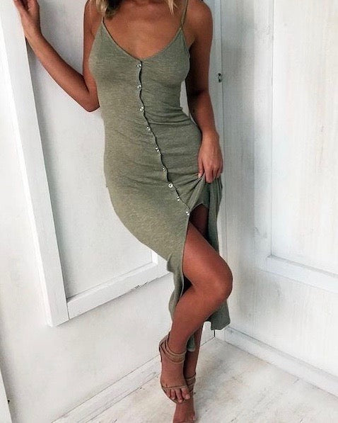 Casual Chic Comfy Button Front Dress in Khaki