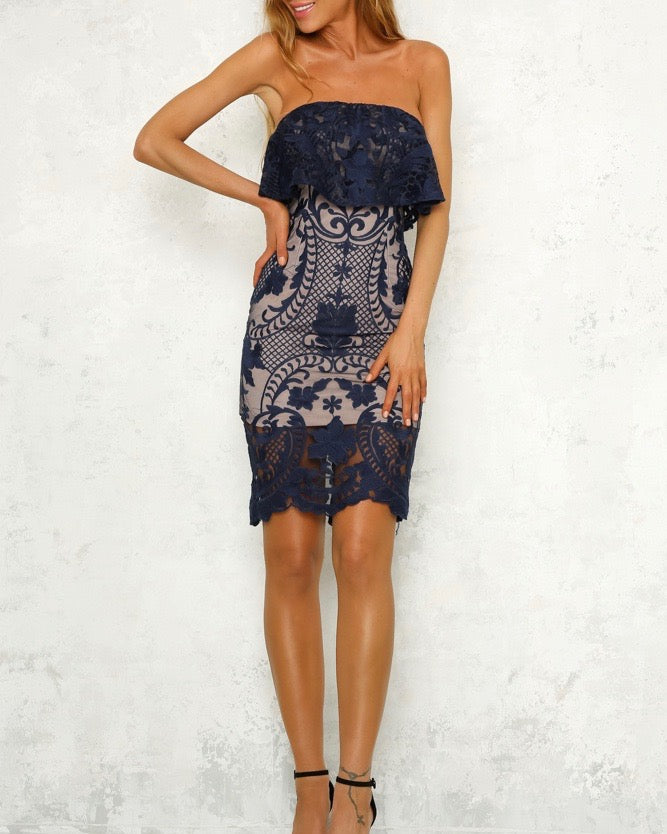 Night Under the Stars Lace Overlay Strapless Dress in More Colors