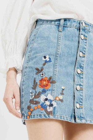 button up embroidered denim skirt