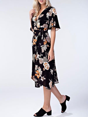Honey Belle - Floral Wrap Dress in Black/Multi