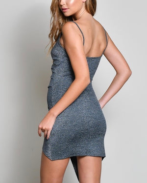 metallic bodycon dress with asymmetrical hem - charcoal