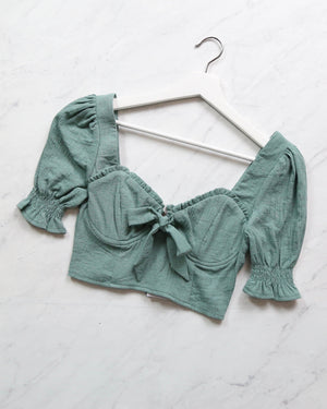 distraction bustier cropped blouse - sage