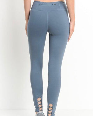 Active Hearts - Criss Cross Cut Out Accent Active Leggings in Light Teal