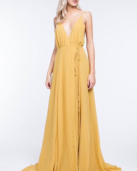 Honey Punch - Summer Affair Maxi Dress in Gold
