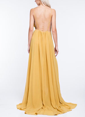 honey punch - summer affair maxi dress - gold
