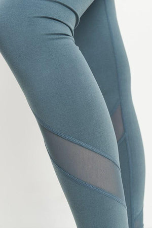 active hearts - slanted mesh panels full length sports leggings - light teal blue