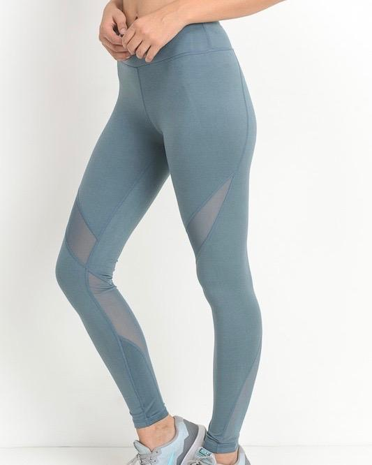 active hearts - athletic leggings with mesh insert - light teal blue