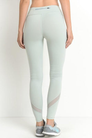 Active Hearts - Cross Mesh Panel Full-Length Leggings in Mint