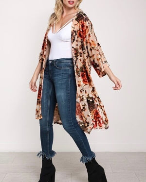 long burn out mesh cardigan kimono - taupe