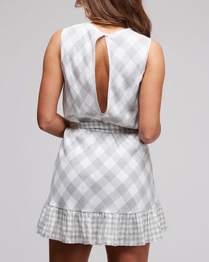 plaid and simple ruffle hem dress - ivory/grey