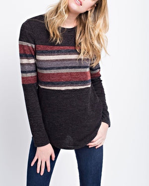 Miru Solid Knit Top in Black