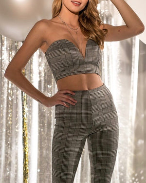Final Sale - Plaid Strapless Crop Top and Pants Set in Grey