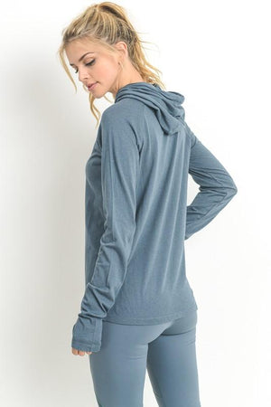 Final Sale - Active Hearts - Hoodie with Zipper Pocket - Light Teal Blue