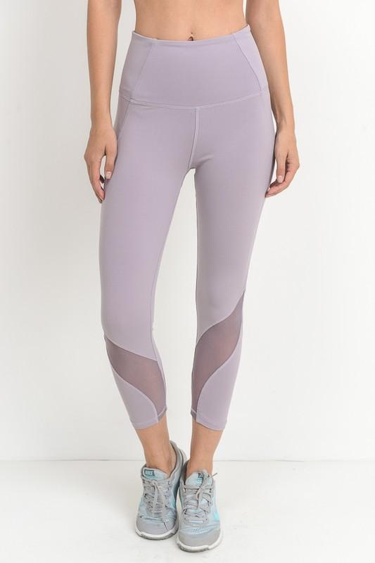 active hearts - wave mesh high waist sports leggings - lavender