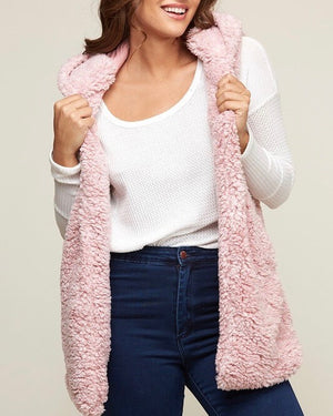 Final Sale - Two Tone Faux Fur Vest With Hoodie - More Colors