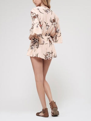 blu pepper - all or nothing - vneck floral romper - coral/multi