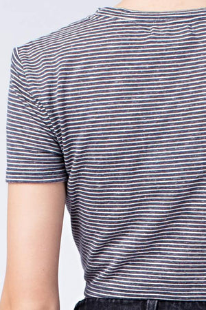 honey punch - striped short sleeve top with front twist - slate