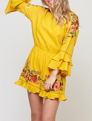 floral embroidered romper - mustard