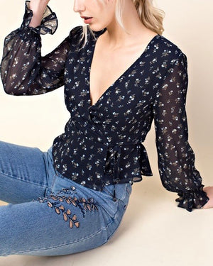 HONEY BELLE - ruffle layered print top - navy
