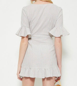 misty - striped woven dress - taupe