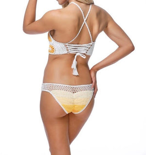 never be the same - crochet mosaic bikini set - yellow