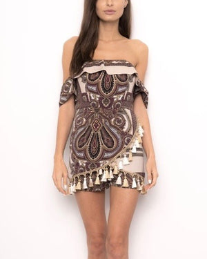 off-the-shoulder romper - paisley print