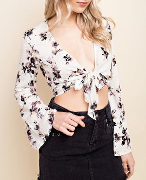 wild honey - long sleeve floral crop top with waist tie - ivory