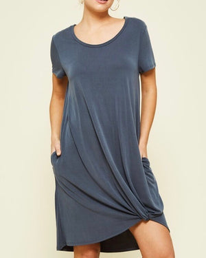 front knot flowy dress with pockets - charcoal