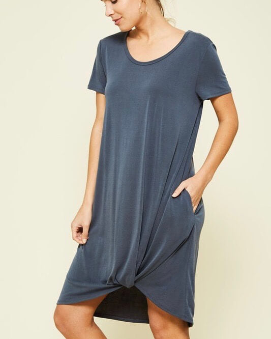 Front Knot Flowy Dress with Pockets in Charcoal