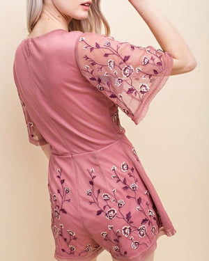 honey belle - v neck floral embroidered short sleeve romper - mauve